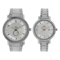 Titan Bandhan Silver Dial Analog Pair Watches