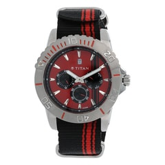 Titan Red Dial Multifunction Watch For Men-9490SP02J