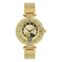 Titan Champagne Dial Analog Watch for Women-95014YM01