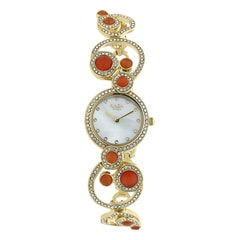 Titan Raga Moonlight Studded Bezel with Orange Stone Analog Watch for Women-95031YM02J