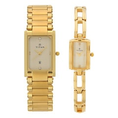 Titan Champagne Dial Analog Watch For Pair-NF12342163YM02T