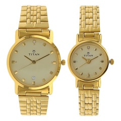 Titan Bandhan Champagne Dial Analog Watches for Pair-NF617917YM08