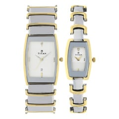 Titan Silver Dial Analog Watch for Pair