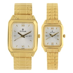 Titan Silver Dial Analog Watch For Pair-NF15812488YM04