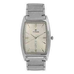 Titan Silver White Dial Analog Watch For Men