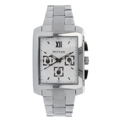 Titan Silver Dial Chronograph Watch for Men