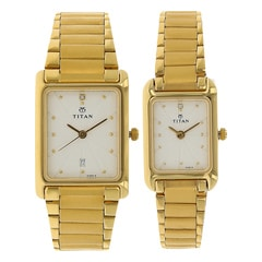 Titan White Dial Analog Watch For Pair-NE531193YM04