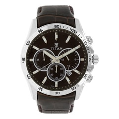 Titan Classique Black Dial Chronograph Watch for Men