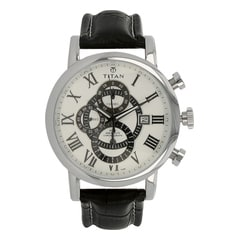 Titan Classique White Dial Chronograph Watch for Men