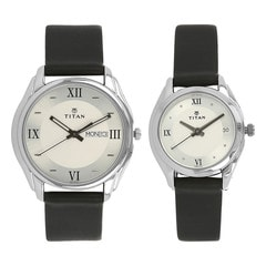 Titan Silver Dial Analog Pair Watches