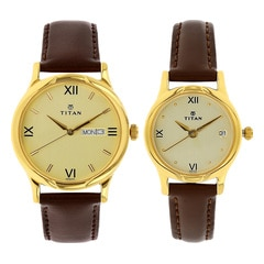 Titan Champagne Dial Analog Watch for Pair