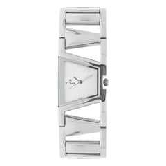 Titan Silver Dial Analog Stainless Steel Strap Watch for Women