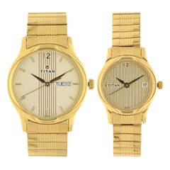 Sonata Bandhan Champagne Dial Analog Watches for Pair