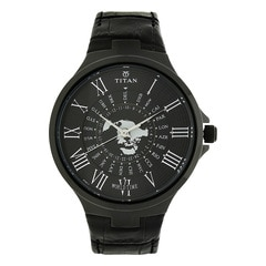 Titan Globe Trotter Black Dial Analog World Time Watch for Men