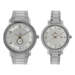 Titan Bandhan Silver Dial Analog Pair Watches