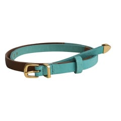 Titan Blue Brown Leather Belt for Women