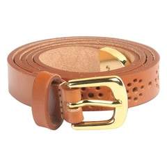 Titan Brown Perforated Leather Belt For Women-TB110LW1TNS