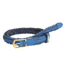Titan Blue Woven Leather Belt for Women