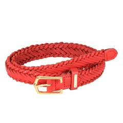 Titan Red Woven Leather Belt For Women-TB111LW1RDL
