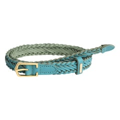 Titan Blue Woven Leather Belt for Women