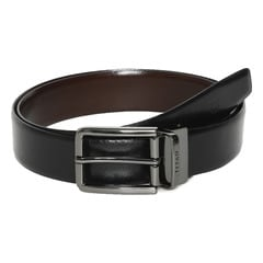 Titan Black & Brown Leather Belt with Reversible Buckle for Men