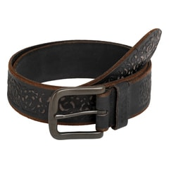 Titan Black Textured Leather Belt for Men-TBG3ALSL16BK0132