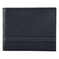 Titan Navy-Grey Leather Wallet For Men-TW176LM1BU