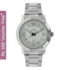 Titan Neo Silver White Dial Analog Watch for Men