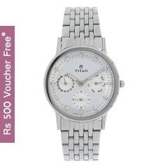 Titan Silver Dial Analog Watch for Women-2557SM01