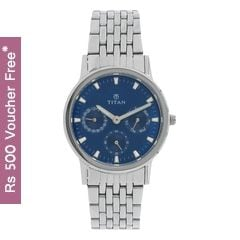 Titan Blue Dial Multifunction Analog Watch for Women-2557SM03