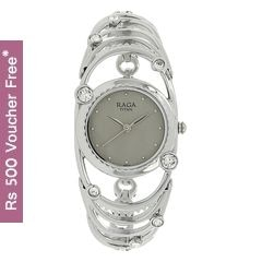 Titan Raga Aurora Silver White Dial Analog Watch for Women