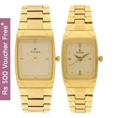 Titan Champagne Dial Analog Watch For Pair-NF19372937YM02