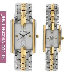 Titan White Dial Analog Watch For Pair-NF19262926BM01
