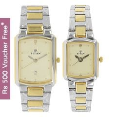 Titan Champagne Dial Analog Watch For Pair-NE19552955BM02