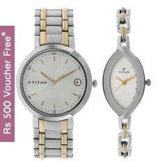 Titan Bandhan White Dial Analog Pair Watches