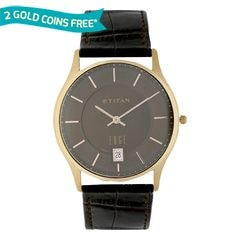 Titan Edge Black Dial Watch with Date function for Men