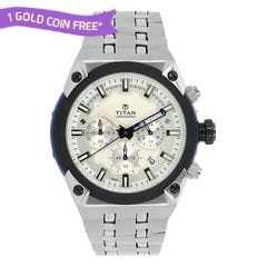 Titan Silver Dial Analog Watch For Men-90030KM02