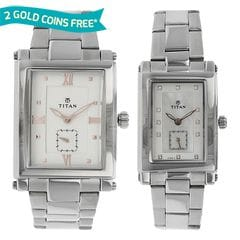 Titan Bandhan Mother of Pearl Dial Analog Pair Watches
