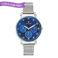 Titan Blue Dial Multifunction Watch for Women-95013SM01