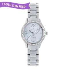 Titan Purple Silver Dial Steel Case Analog Watch for Women-95024SM01J