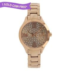 Titan Purple Rose Gold Studded Dial Analog Watch for Women-95027WM01J