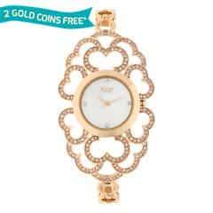 Titan Raga Moonlight MOP Dial Rose Gold Strap Analog Watch for Women-95028WM01J
