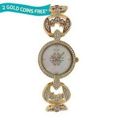 Titan Raga Moonlight Studded Bezel Gold Strap Analog Watch for Women-95029YM01J