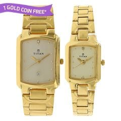 Titan Champagne Dial Analog Watch For Pair-NF19552955YM02