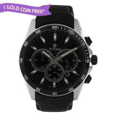 Titan Black Dial Chronograph Watch for Men