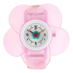Zoop Silver Dial Pink Flower Analog Watch for Girls